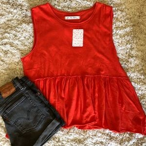 We The Free Orange-red Peplum Tank